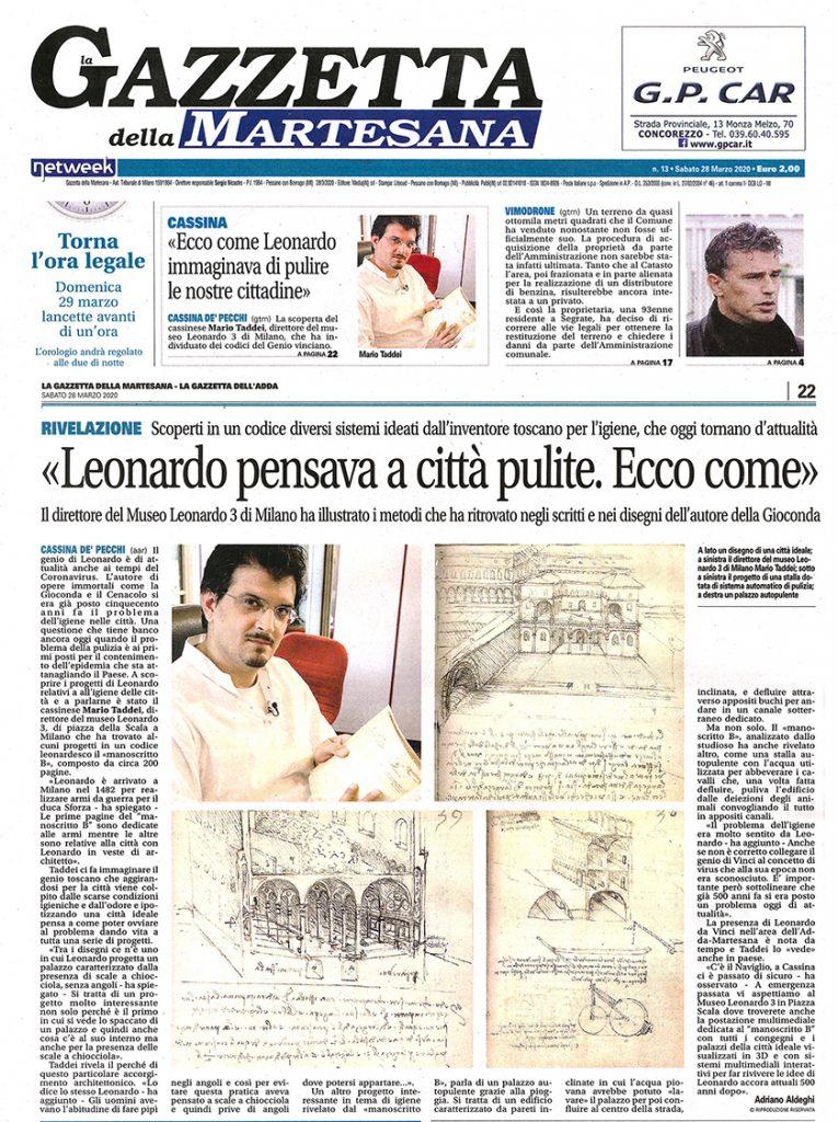 Mario Taddei -  Press Reviews 2020 04 28 Gazzetta Martesana Leonardo da Vinci città Pulite -